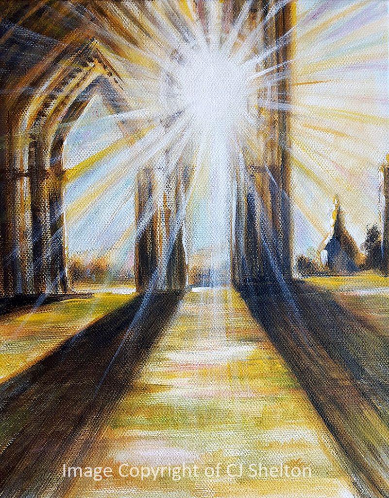 """""""Sunrise at Glastonbury Abbey"""" by CJ Shelton"""