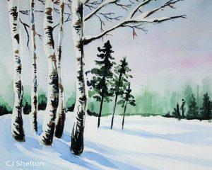 Winter Birches Watercolour