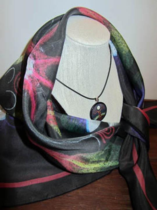 Scarf draped around neck