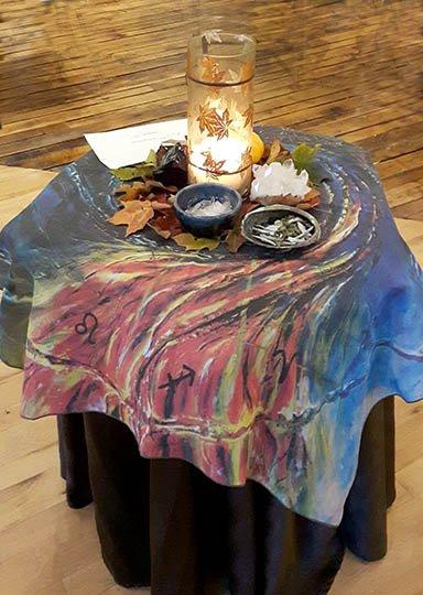 Scarf as altar cloth